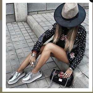 Zara silver metallic platform shoes sz 41 sz 10